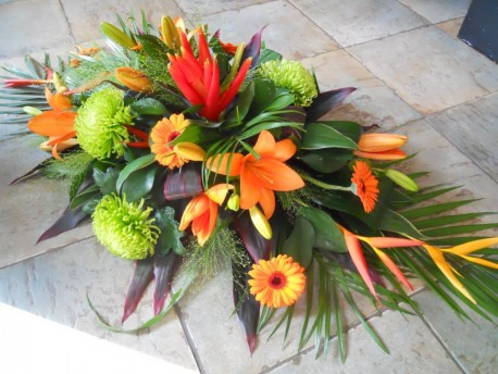 Tropical funeral spray