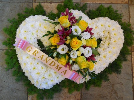 Massed double heart wreath