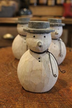 Wooden standing snowman