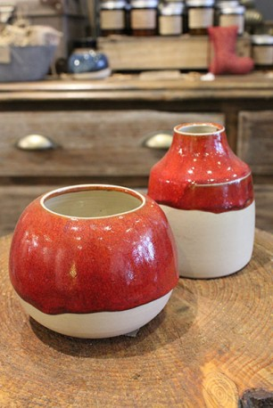Red ceramic orb vase