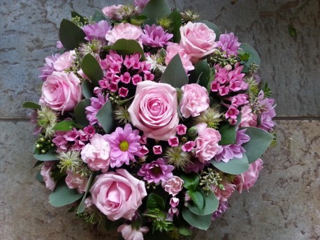 Traditional pink funeral posy