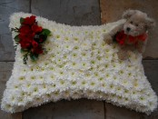 Pillow & teddy funeral tribute