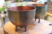 Copper planter with legs