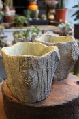 Ceramic 'tree bark' planter