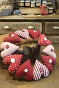 Handmade Fabric Heart Wreath
